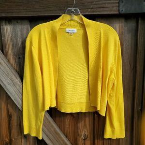 Bright yellow cropped open cardigan EUC  sz XL